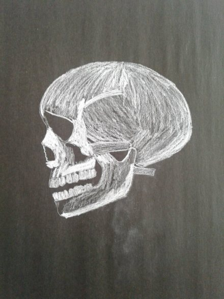 wk1 - Wed - 20 mins black paper white pencil